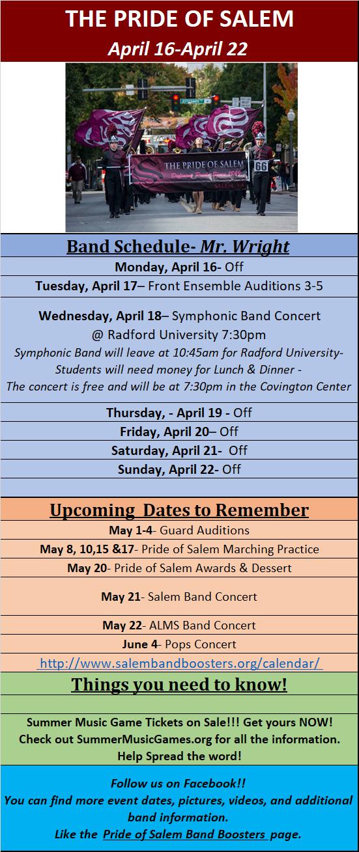 Calendar for April 16-20 |